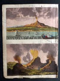 Goldsmith & Shaw 1817 Hand Col Print. Mount Etna. Volcano Eruption. Sicily Italy